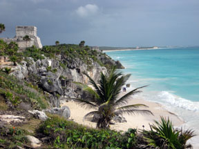 Tulum Mayan ruins overlook a gorgeous white-sand beach. Photo by Miriam Balsley