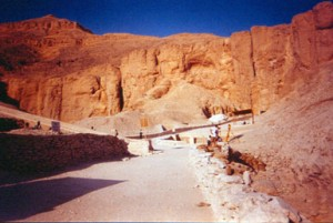 The tall desert cliffs in the Valley of the Kings.